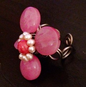Other Pink Flower & Pearl Ring