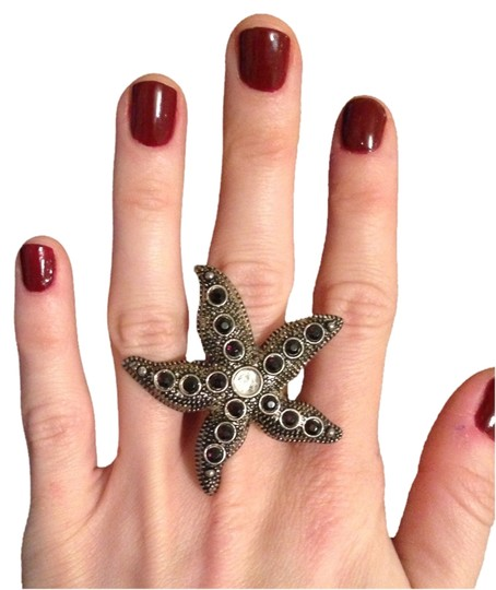 Other Silver & Black Adjustable Starfish Ring