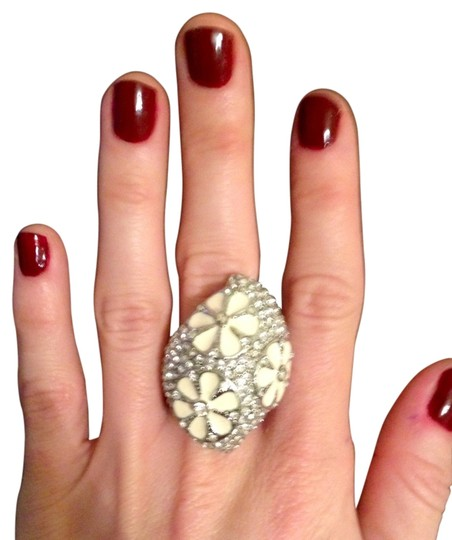 Other Silver Adjustable Flower Statement Ring With Crystals