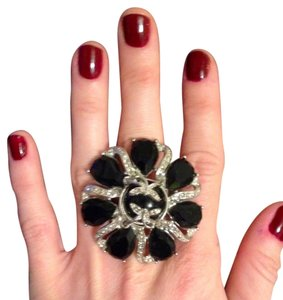 Black & Silver Adjustable Flower Ring