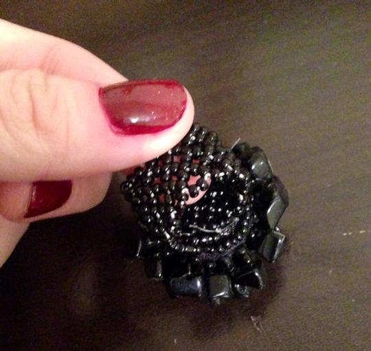 Other Black Beaded Adjustable Fashion Statement Ring