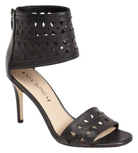 Via Spiga Ankle Cuff Open Toe Black Pumps