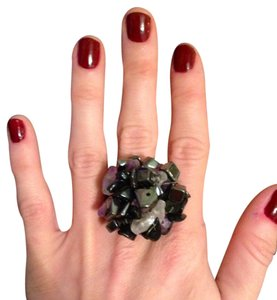 Purple & Black Adjustable Beaded Statement Ring