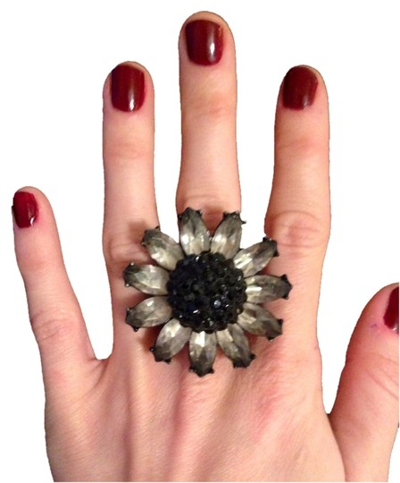 Other Silver/black Adjustable Flower Statement Ring