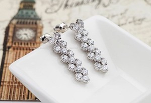 Elegant Swarovski Elements White Gold Plated Drop Earrings