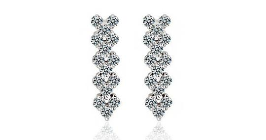 CasaDiBling White Gold Plated Stunning Drop Cubic Zirconia Diamonds Earrings