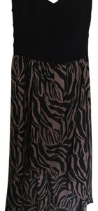 Black, brown Maxi Dress by Frederick's of Hollywood Animal Print Bandage High-low Maxi