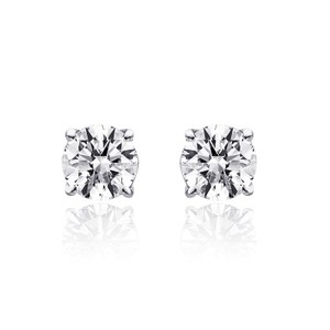Avital & Co Jewelry 1.00 Carat Round Cut Diamond Solitaire Stud Earrings 14k White Gold