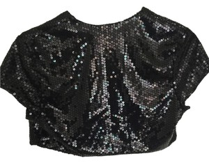 Charlotte Russe Embellished Sequin Shrug Top Black