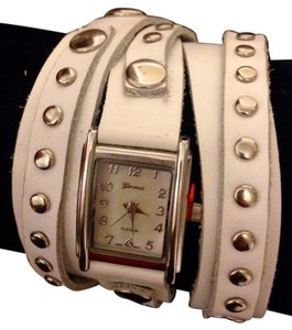 Geneva White & Silver Adjustable Wrap Watch