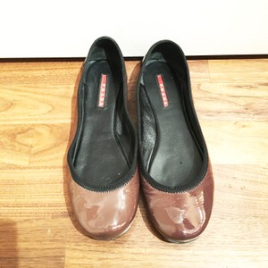 Prada Flat Patent Leather Black & Brown Flats