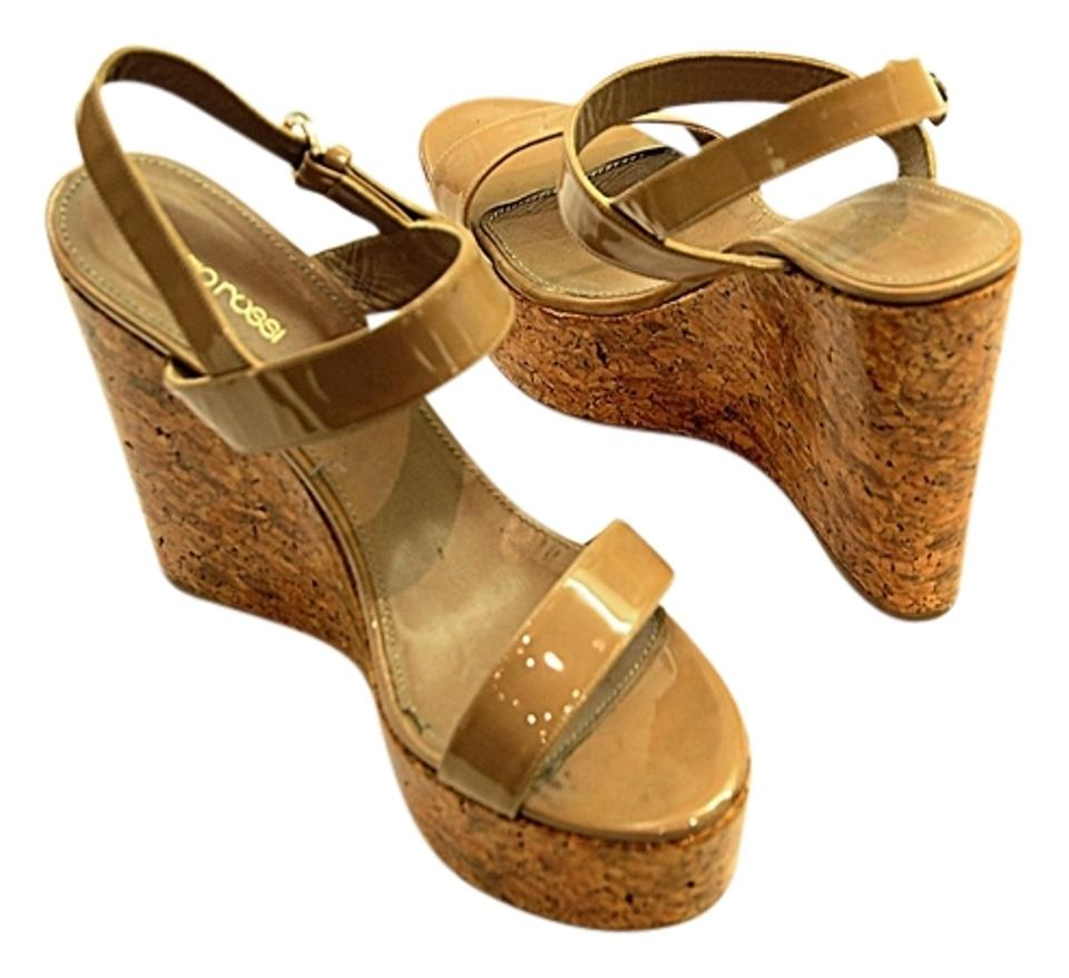 93d236fe72f Sergio Rossi Brown Nude Yellow Cork Platform Sandals Wedges Size US ...