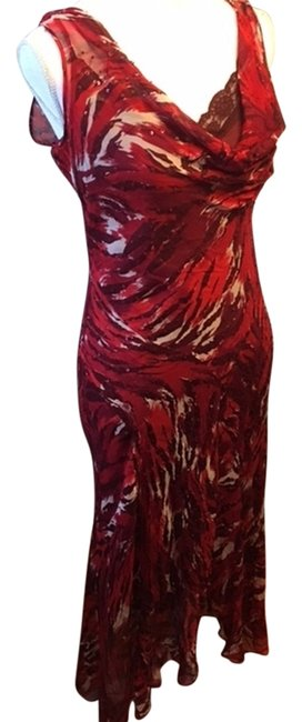 Item - Red/Black/Cream Long Night Out Dress Size 10 (M)