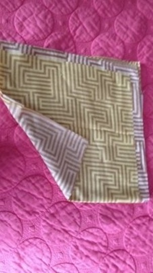 Other Geometric Scarf in Yellow Tan Cream Silk cotton blend Purse Neck Hair Scarf