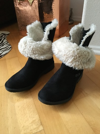 Other Suede Knit Buckles Zipper Faux Fur Black Boots Image 1
