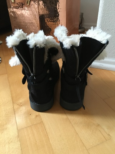 Other Suede Knit Buckles Zipper Faux Fur Black Boots Image 2