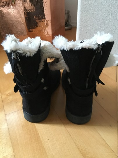 Other Suede Knit Buckles Zipper Faux Fur Black Boots Image 3