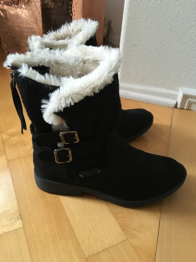 Other Suede Knit Buckles Zipper Faux Fur Black Boots Image 4