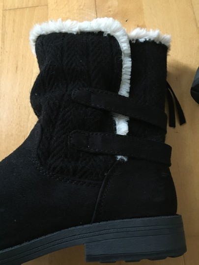 Other Suede Knit Buckles Zipper Faux Fur Black Boots Image 6