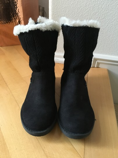 Other Suede Knit Buckles Zipper Faux Fur Black Boots Image 8