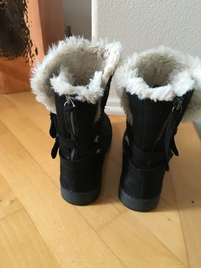 Other Suede Knit Buckles Zipper Faux Fur Black Boots Image 9