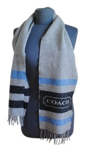 Coach Blue/Grey Striped Coach Winter Scarf