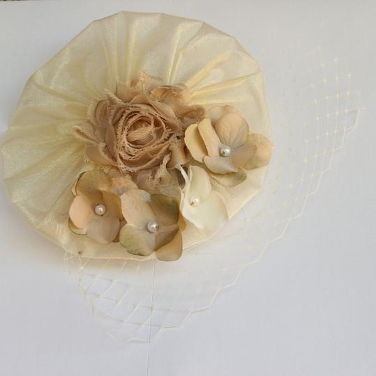 Other Ivory Beige and Tan Fascinator - Ivory Hair Accessory, Ivory wedding - wedding favors - Free shipping