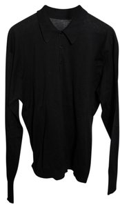john smedley Mens Wool Long Sleeve Polo Top black