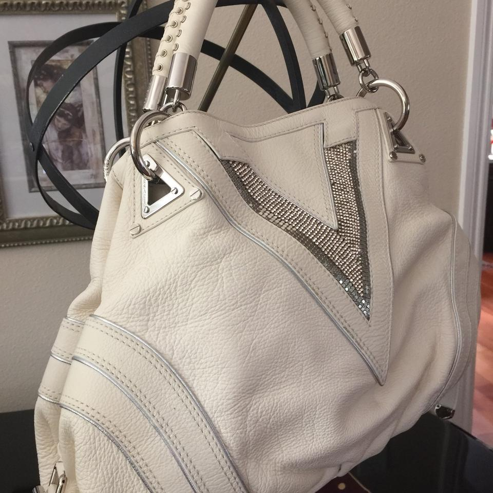 e907742a46 Versace Large V White Deerskin Leather Hobo Bag - Tradesy