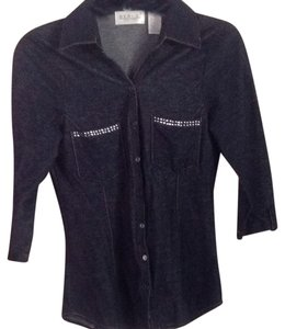 Geri C New York Button Down Shirt Denim Blue