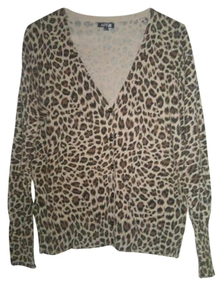 Apt. 9 Brown Tan Black Animal Print Rn#73277 Cardigan Size 12 (L ...