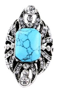 Other Turquoise Pave Stone Statement Ring