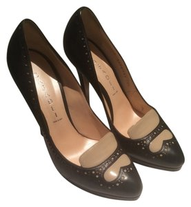 Casadei Loafer Leather Italian Patent Leather Black & Nude Pumps
