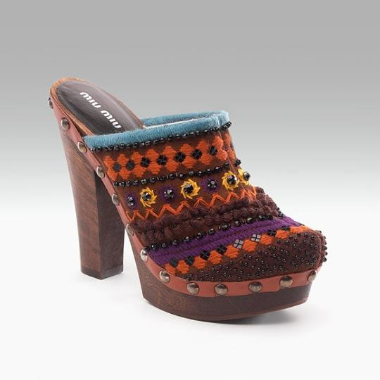 Miu Miu Prada Leather Brass Studs Wood Warm Platform Embroidered Beaded Lamb Wool Winter Brown Gold Orange Purple Blue Black Yellow White Mules