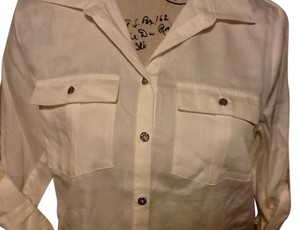 Jaclyn Smith Pockets Collared Dressy Squared Hem Cuffed Sleeves Button Down Shirt Cream
