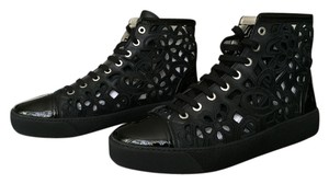 Chanel Laser Cut High Top Sneaker Patent Black Athletic