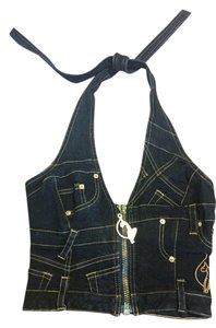 Baby Phat Jean Vest Blue Zippered Vest Jean/Blue Halter Top