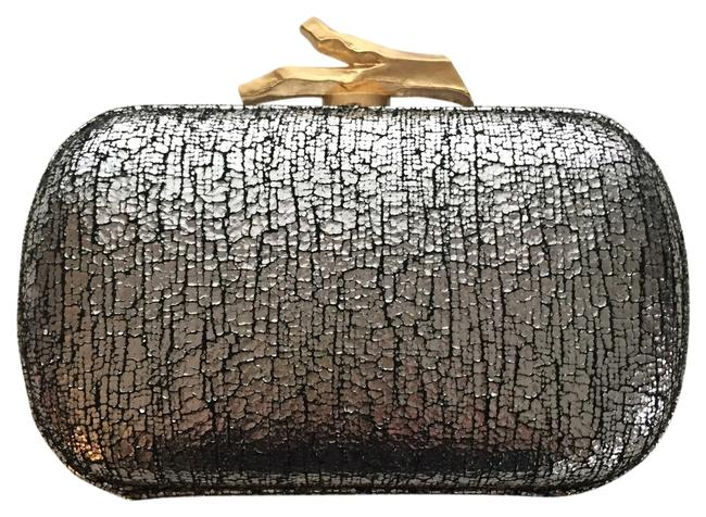 Item - Silver Black Gold Leather and Hardware Clutch