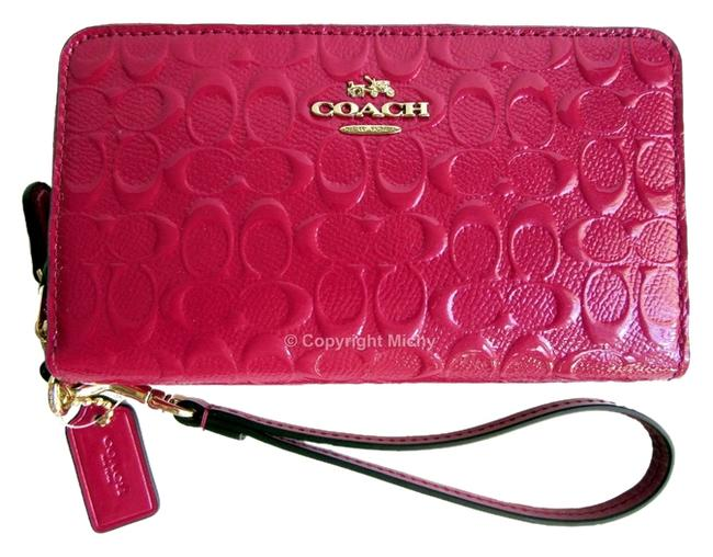 Item - Gift Boxed Signature Debossed Double Zip F53647 Phone Wallet Cranberry (Pink) Patent Leather Wristlet