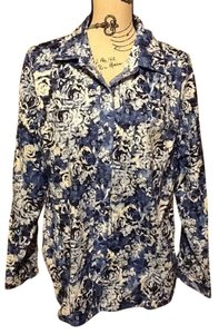 Basic Editions Womens Roses Collared Button Down Shirt Blue Hues