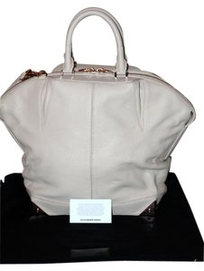 Alexander Wang Leather Rose Gold Harware Crossbody Strap Structured Base Tote in Eggshell (ivory white)
