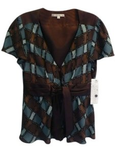 Nanette Lepore Top Teal and brown