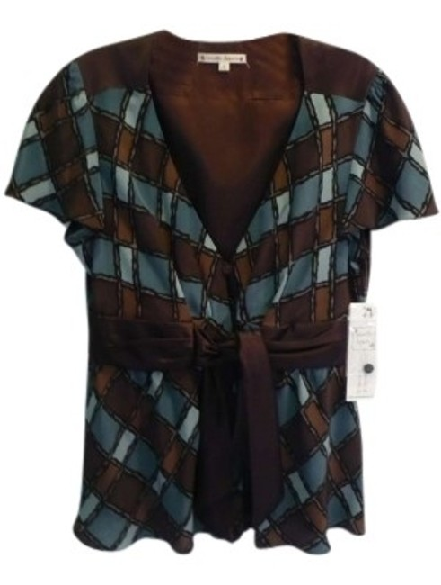Preload https://img-static.tradesy.com/item/146370/nanette-lepore-teal-and-brown-charming-chic-blouse-size-10-m-0-0-650-650.jpg