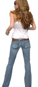 Victoria Beckham Embroidered Boot Cut Jeans-Distressed