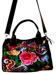 Embi Bags Handles Floral Colorful Leather Satchel Cowhide Cross Body Bag