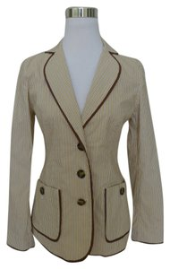 Tommy Bahama Pinstripe Gold Satin Trim Brown Blazer