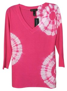 INC International Concepts Cotton Embellished Fitted T Shirt Pink