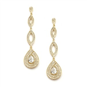 Mariell Ultra Glam Crystal Pave Drop Gold Bridal Earrings