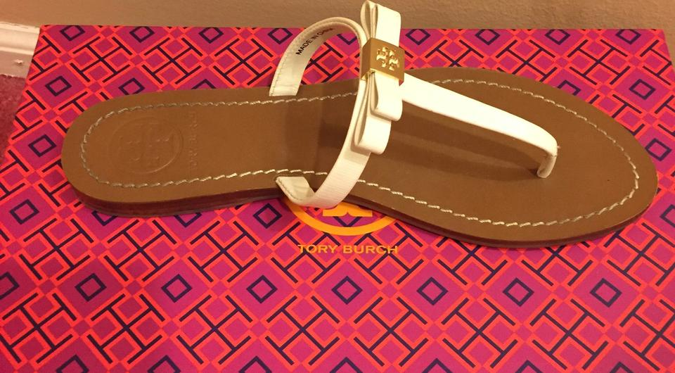 bf2164acd80 Tory Burch White Leighanne Bow Flip Flop Thong Sandals Size US 7 ...