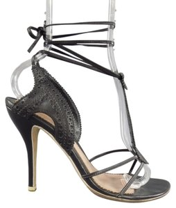 Alexander McQueen Leather Brogue Laceup Strappy Black Sandals